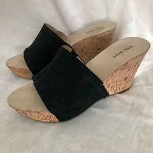 Nine West Ersilia Black Suede Wedge sandals 8.5